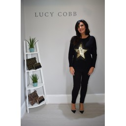 Lucy Cobb Corby Sequin Star Jumper in Black