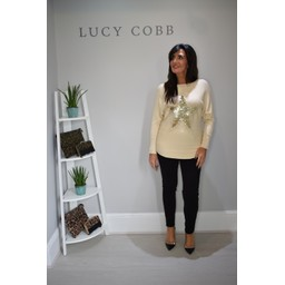 Lucy Cobb Corby Sequin Star Jumper in Cream