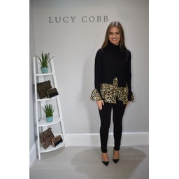 Lucy Cobb High Neck 2 In 1 Jumper With Leopard - Black