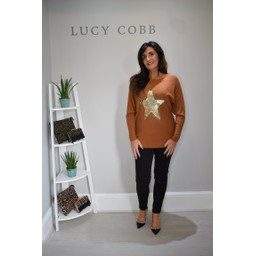 Lucy Cobb Corby Sequin Star Jumper in Rust