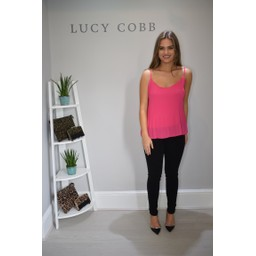 Lucy Cobb Peyton Pleated Cami - Fuchsia