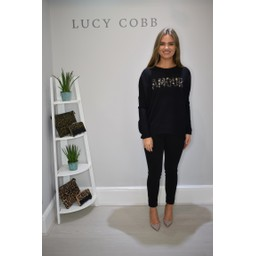 Lucy Cobb Sequin Ribbed Amour Jumper - Black