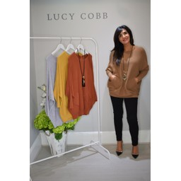 Lucy Cobb Cross Back Ribbed Jumper  - Camel