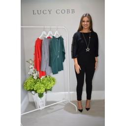 Lucy Cobb Denia Diamante Bow Arm Jumper - Black