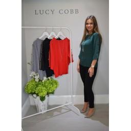 Lucy Cobb Denia Diamante Bow Arm Jumper - Green