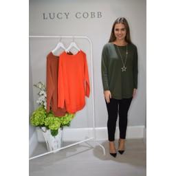 Lucy Cobb Ria Ribbed Hem Jumper - Khaki