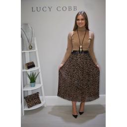 Lucy Cobb Perla Pleated Skirt - Leopard Print Brown