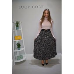 Lucy Cobb Lila Pleated Maxi Skirt - Khaki Animal Print