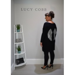 Lucy Cobb Oversized Angel Wing Back Jumper in Black
