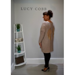 Lucy Cobb Oversized Angel Wing Back Jumper in Taupe