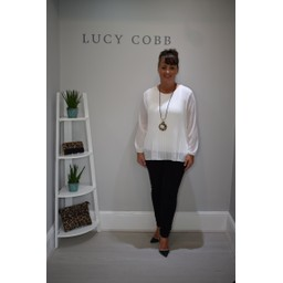 Lucy Cobb Connie Long Sleeve Blouse in White