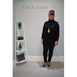 Lucy Cobb Trudy Oversized Roll Neck Jumper in Black