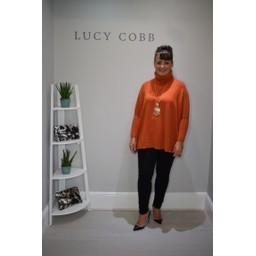 Lucy Cobb Trudy Oversized Roll Neck Jumper in Burnt Orange