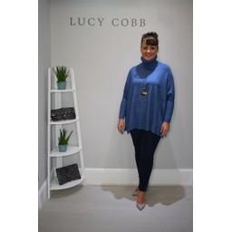 Lucy Cobb Trudy Oversized Roll Neck Jumper in Denim Blue