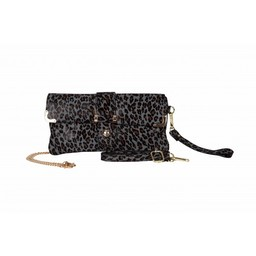 Malissa J Real Leather Clutch in Leopard Print