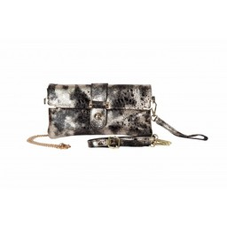 Malissa J Real Leather Clutch in Black Gold