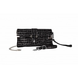 Malissa J Real Leather Clutch in Black Silver