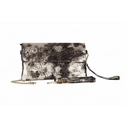 Malissa J Fold Over Leather Clutch in Black Gold