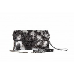 Malissa J Fold Over Leather Clutch in Black Silver