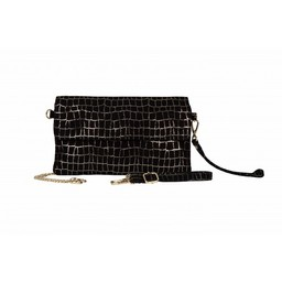 Malissa J Fold Over Leather Clutch - Black Check