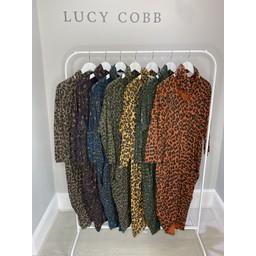 Lucy Cobb Leopard Snood Dress in Purple