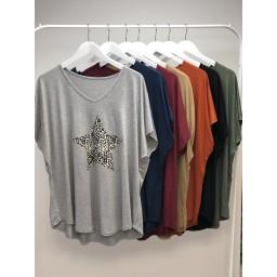 Lucy Cobb Leopard Star T-Shirt in Khaki