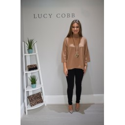 Lucy Cobb Riley Ribbed Neck Jumper - Camel