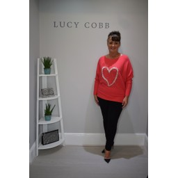 Lucy Cobb Pearl Heart Ribbed Jumper - Red