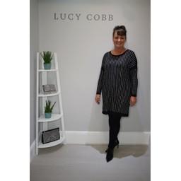Malissa J Bling Stripe Dress - Black