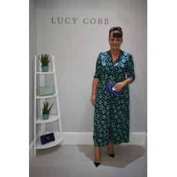 Jolie Moi Belted Wrap Front Culotte Suit - Green Spot