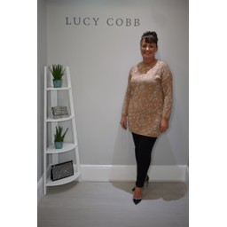 Lucy Cobb Gilly Glitter Print Tunic in Camel