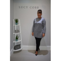 Lucy Cobb Gilly Glitter Print Tunic - Grey