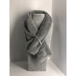 Malissa J Diamante Fasten Faux Fur Collar in Silver Grey