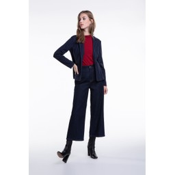 Oui Pin Stripe Blazer - Navy Stripe