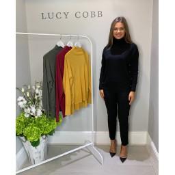 Lucy Cobb High Neck Button Side Jumper - Black