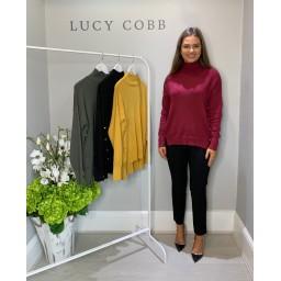 Lucy Cobb High Neck Button Side Jumper - Burgundy