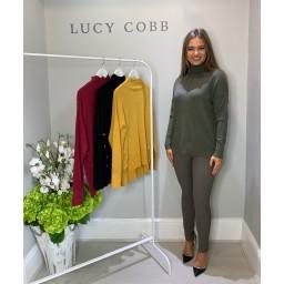 Lucy Cobb High Neck Button Side Jumper - Khaki