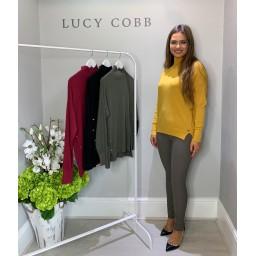 Lucy Cobb High Neck Button Side Jumper - Mustard