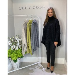 Lucy Cobb Cable Knit Roll Neck - Black