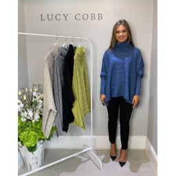 Lucy Cobb Cable Knit Roll Neck - Denim Blue