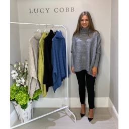 Lucy Cobb Cable Knit Roll Neck - Grey