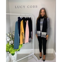 Lucy Cobb Block Stripe Jumper with Scarf - Grey