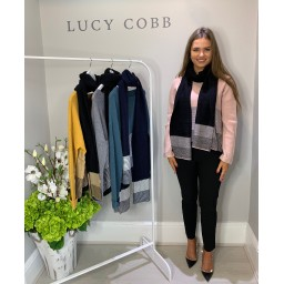 Lucy Cobb Block Stripe Jumper with Scarf - Pink