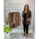 Faux Suede Leopard Jacket - Chocolate
