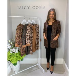Lucy Cobb Faux Suede Leopard Jacket in Chocolate