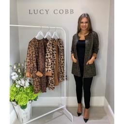 Lucy Cobb Faux Suede Leopard Jacket - Khaki