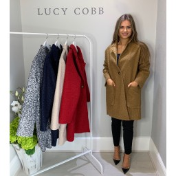Lucy Cobb Jess Boucle Coat in Camel
