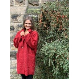 Lucy Cobb Jess Boucle Coat in Red