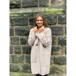 Lucy Cobb Jess Boucle Coat in Stone