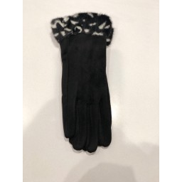 Malissa J Animal Faux Fur Cuff Gloves - Black Mix